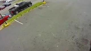 Speeding motorbike crashes into white car - Impressive