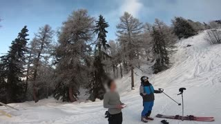Skier Ruins Drone with Ski Pole after Near Miss