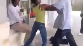 Drunk couple fighting