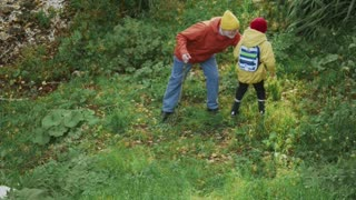 Grandson Going Down the Forest to His Grandfather