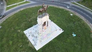 Black Lives Matter Graffiti on Confederate Monument in Richmond, Virginia