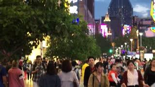 Walking through downtown Shanghai