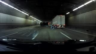 Truck Tips Over in Traffic Filled Tunnel