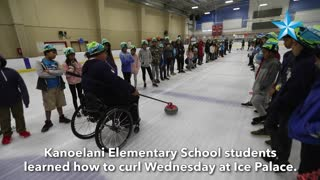 Olympic gold medalist and Paralympian teach Hawaii students how to curl