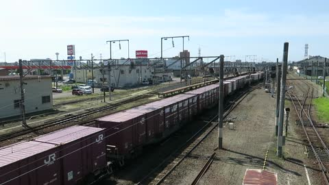 Diesel locomotive with freight