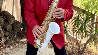 Santa Sax Christmas Music Greg Vail Saxophone white Alto Sax