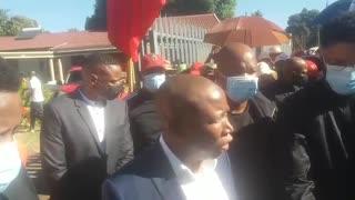 EFF leader Julius Malema visits the home of 35-year-old Mthokozisi Ntumba