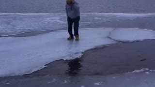 Man Encourages Brother to Jump on Questionable Ice