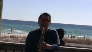 Live Saxophone Music Performance Collage at the beach