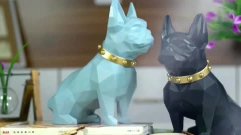 Abstract Frenchie Decorative Table Top Organiser Statue