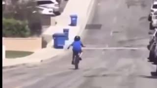 Kid running into trash