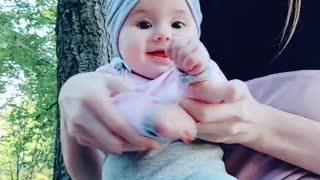sweet little baby girl dancing