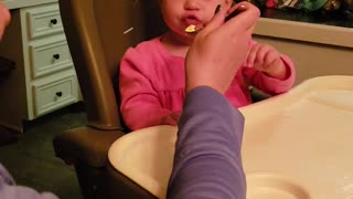 Baby girl tries eating ice cream for the first time