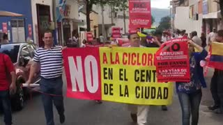 Comunidad mantiene protesta por las ciclorrutas en Bucaramanga