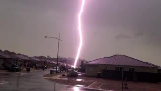 Lightning Bolt Strikes a Parked Car