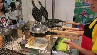 Thai Style Waffles Dessert Bangkok Street Food