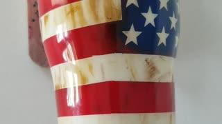 Weathered American flag/Military tumbler