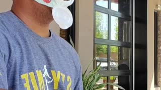 Baby Wipe Mask Allows Guy to Enjoy Food and Drinks