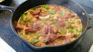 Cajun food sausage bell peppers and potatoes