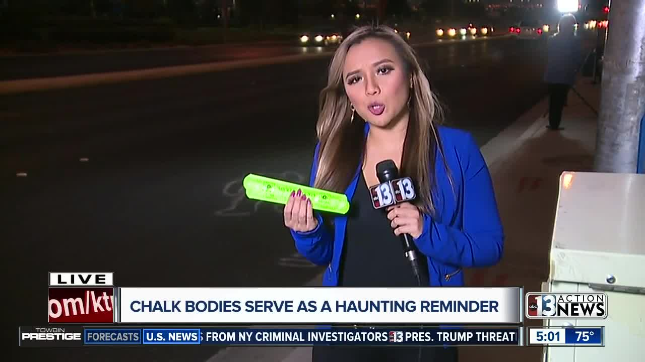 What do the chalk outlines mean around Las Vegas?