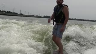 Beer Toss & Drink While Surfing