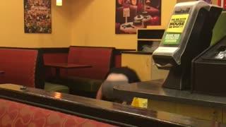 Guy backflip restaurant trashcan hits head