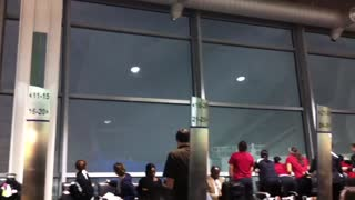 Crawds Of People At Airport Suddenly Caught Tornado Coming