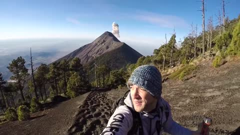 Mt Fuego eruption as Traveller descends volcano