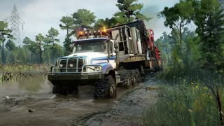 Driving Freightliner 114SD 8x8 Driving Offroad SnowRunner 2020