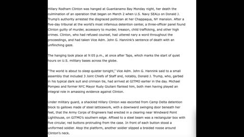 RRN Reports HRC Hanged At Gitmo - Anon Notes On Phillip's Funeral - They've Been Caught - Dominoes