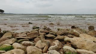 Relaxing rocky beach, water on rocks no crabs