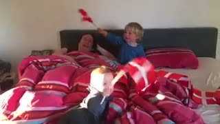 our babies playing with flags