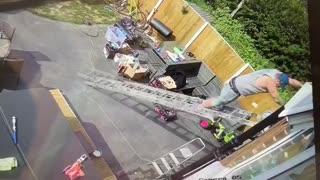 Slippery Floor Leads to Ladder Sliding