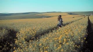 Girl running in the field