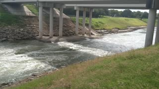 White Water Flowing Over Low Water Crossing