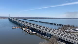 Time Lapse Video of a lot of Traffic on a Bridge