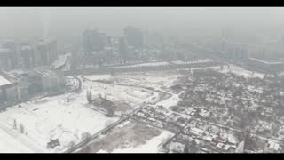Very beautiful view from a drone in winter