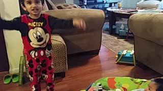 3 year old singing lullaby to his brother