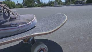 On a skateboard