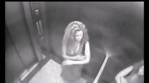 Woman assaulted by something bizarre in this elevator. Caught on CCTV camera