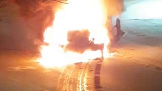 Money Truck Catches Fire in the Street