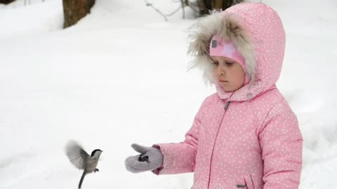 Girl feeding birds in the snow -With beautiful music