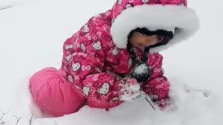 snow eating baby