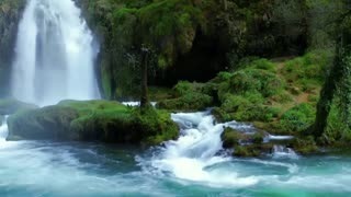 Relaxing music with nature sounds - HD Waterfall - 10 minuts