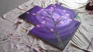 Cherry Blossom Time lapse Painting using Acrylic