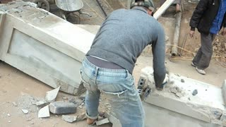 Tipper Truck Demolishes Brick Pillar