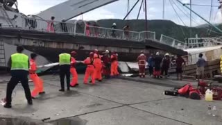 Fisherman Pulled From Water After Taiwan Bridge Falls