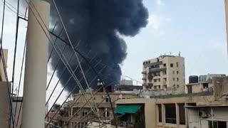 Happening now in Beirut: Large blaze erupts month after explosion