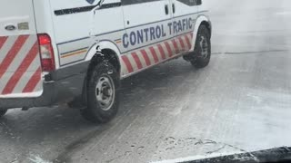 Traffic Control Car Has Hard Time on Ice