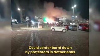🚨 Covid center burned down in DENMARK!